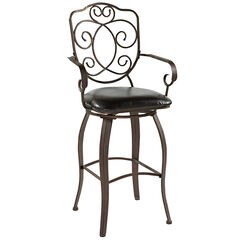 "Crested Back Counter Stool, 24""H, POWDER"