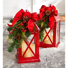"20""H Red Christmas Lantern with LED Candles,"