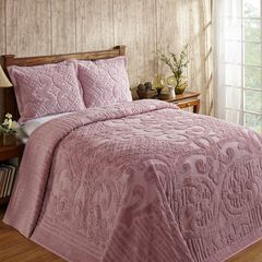Ashton Collection Tufted Chenille Bedspread by Better Trends, PINK