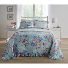 3-Pc. Printed Ruffle Bedspread Set, BLUE MULTI