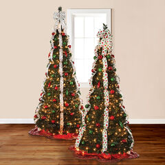 Fully Decorated Pre-Lit 7½' Pop-Up Christmas Tree, RED LIME