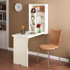 Fold-Out Convertible Desk, WHITE