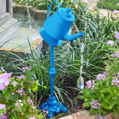 Metal Watering Can with Water Droplet Beads, BLUE