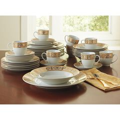 Medici 40-Pc. Golden Ceramic Dinnerware Set, GOLD WHITE