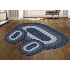 Country Braid Collection 3 Piece Set Durable & Stain Resistant Reversible Indoor Oval Area Rug by Better Trends, DARK BLUE STRIPE
