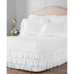 "Belles & Whistles 3-Tiered Ruffle 15"" Drop Bed Skirt, WHITE"
