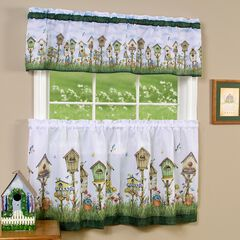 Home Sweet Home Tier and Valance Window Curtain Set, MULTI