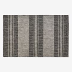 "Carmel Indoor/Outdoor Bold Stripes Rug 6'6"" x 9'4"", BLACK"