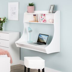 Compact Hanging Desk, White, WHITE