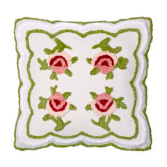 "Samantha Chenille 18""Sq. Pillow, IVORY GREEN"
