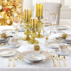 Medici 40-Pc. Golden Ceramic Dinnerware Set, GOLD WHITE