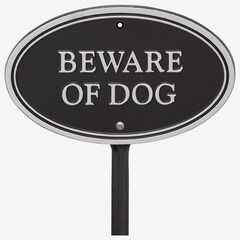 Beware of Dog Oval Wall/Lawn Statement Plaque, BLACK SILVER