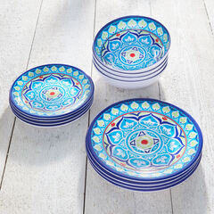 Blue Casab Melamine 12-Pc. Dinnerware Set,