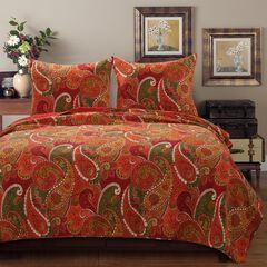 Tivoli Cinnamon Quilt Set by Greenland Home Fashions, CINNAMON