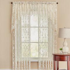 Floral Vine Rod Pocket Curtain, IVORY