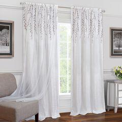Willow Rod Pocket Window Curtain Panel, WHITE