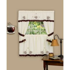 Cuppa Joe Embellished Cottage Window Curtain Set, BROWN