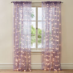 "84"" Pre-Lit Rod-Pocket Curtain Panel, PURPLE"