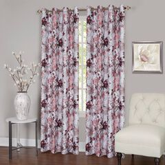 Tranquil Lined Grommet Window Curtain Panel, BLUSH