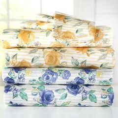 300-TC. Melody Floral Cotton Bed Tite™ Sheet Set, GOLD