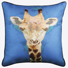 Giraffe Reversible Decorative Pillow, BLUE