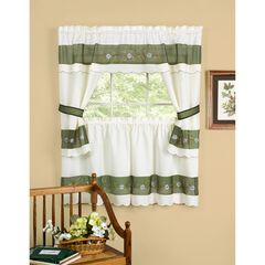 Berkshire Embellished Cottage Window Curtain, GREEN