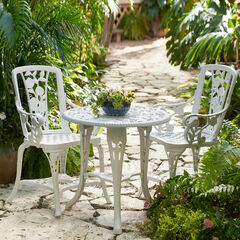 3-Pc Rose Bistro Set, WHITE