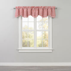 Country Check Layered Valance, RED