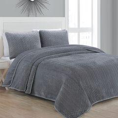 Sonoma Gray Velvet Quilt Set, GRAY