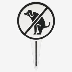 No Dog Poop Round Courtesy Lawn Stake, WHITE BLACK