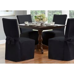 "Fresh Ideas Dining Room Chair Cover 42"" x 19"", BLACK"
