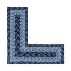 """Alpine Braid Collection Reversible Indoor Area in Vibrant Colors, 24"""" x 68"""" x 68"""" L-Shape by Better Trends, NAVY STRIPE"""