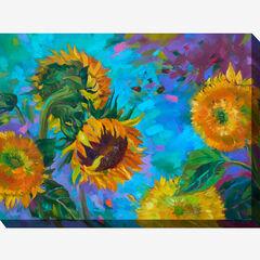 Sunflower on Blue Wall Art,