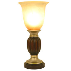 "13¼"" Two Tone Resin Uplight with Alabaster Champagne Glass,"
