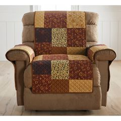Printed Faux Patchwork Recliner Protector, BROWN GOLD