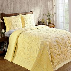 Ashton Collection Tufted Chenille Bedspread by Better Trends, YELLOW