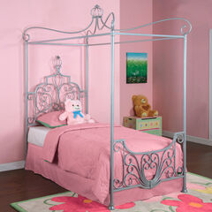 "Princess Rebecca ""Sparkle Silver"" Canopy Twin Size Bed (P01 frame sold separately),"