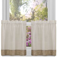 Oakwood Window Curtain Tier Pair, NATURAL