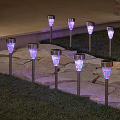 Solar Mosaic Stake Lights, Set of 8, MULTI