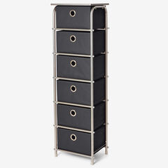 Eve 6-Drawer Tall Soft Storage, BLACK