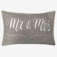 """Mr & Mrs"" Decorative Pillow, GREY"