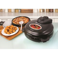 """Euro Cuisine 12"""" Rotating Pizza Maker with Stone & Baking Pan, BLACK"""