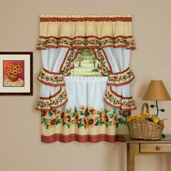 Black Eyed Susan Cottage Window Curtain Set, SPICE