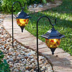 Set of 2 Hand-Painted Solar Lanterns, MULTI