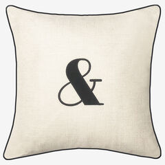 "Embroidered Appliqued ""&"" Decorative Pillow, OYSTER BLACK"