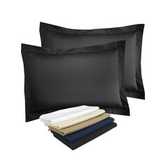 Fresh Ideas Poplin Tailored 2-Pack Black Pillow Sham, BLACK