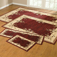 Rose Border 4-Pc. Rug Set with Runner, RED