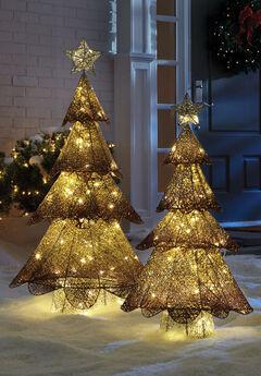 Champagne Mesh Glitter Trees,
