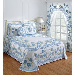 Bloomfield Collection in Floral Design Tufted Chenille Bedspread by Better Trends, BLUE