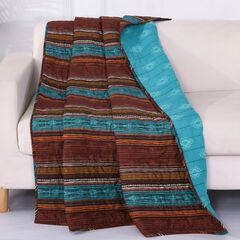 Barefoot Bungalow Tucson Quilted Throw Blanket, COFFEE